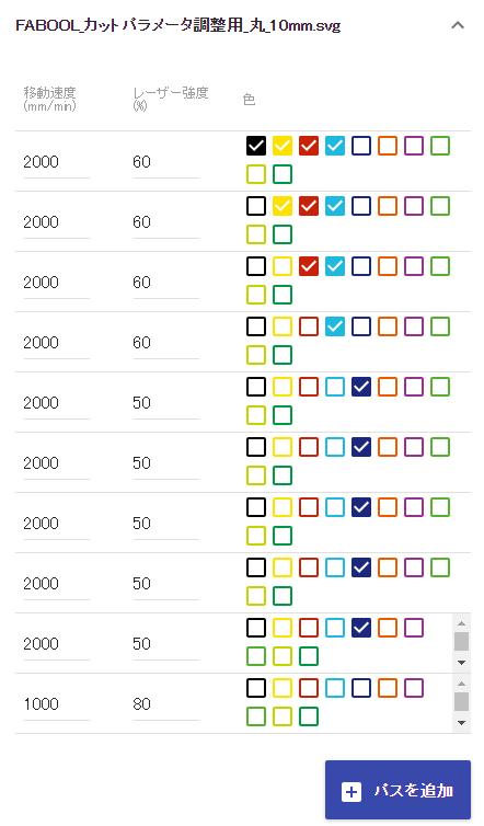 FABOOL_カットパラメータ調整画面_速度2000繰り返し